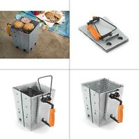 portable charcoal grill collapsible camp chimney starter in silver