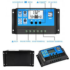 10/20/30A Amp 12V/24V Solar Panel Charge Controller Battery Regulator Dual USB