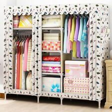 """66"""" Portable Stainless Steel Wardrobe Closet Reinforced Fully-enclosed Armoires"""