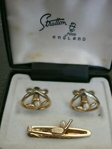 VINTAGE STRATTON CUFFLINKS & TIEPIN SET, GOLF CLUBS AND PEARL BALL