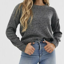 Brave Soul Ladies Grunge Neck Grey Jumper - Size: Medium (UK 14)