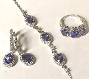 JCB Faceted Oval Tanzanite Trio 925 Sterling & CZ: Ring Sz 5 Bracelet Earrings