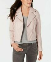 $150 French Connection Women Faux-Leather Winter Moto Jacket Pink Blush Size M