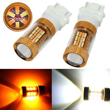 2x T20 7443 7444NA White/Amber LED DRL Switchback Turn Signal Light 54-SMD Bulbs