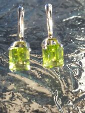 Peridot Octagon Cut Leverback Earrings 14kt Solid White Gold