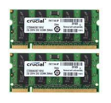 4GB Crucial 2x 2GB DDR2 667 Mhz Notebook Arbeitsspeicher RAM SO DIMM PC2-5300S