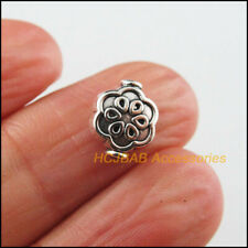 20 New Flower Charms Tibetan Silver Tone Oval Spacer Beads 8x10mm