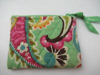 "Vera Bradley Pouch Women's Wallet Zip Green Paisley 5"" x 4"""