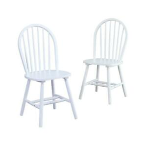 2 SET SOLID WOOD CHAIRS Kitchen Nook Dining Room Seat Farmhouse Furniture Chair