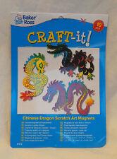 DRAGO cinese Calamita Scratch Art Kit-Dieci Magneti-Nuovo con Scatola