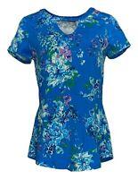 Isaac Mizrahi Live! Women's Top Sz XS Floral Printed Knit Peplum Blue A308015