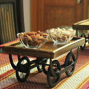 Unique Wood Cart Snack Serving Platter for Dining Table/Lounge-Free Ship