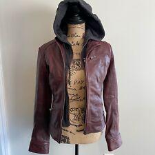 Bod &  Christensen Womens Size Small Burgundy Full Zip Hooded Leather Jacket New