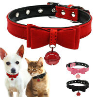 Small Dog Collar Soft Suede Leather Pet Puppy Cat Collars & Bell Chihuahua XXS-M