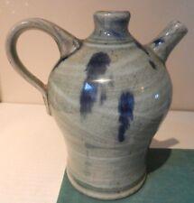 A Keith Smith stoneware oil jug. Devon studio pottery. English. Grey and blue