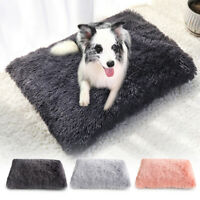 Soft Gray Plush Fluffy Dog Mat Blanket Pet Cat Calming Bed Cushion for Kennel