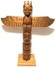 British Columbia Pacific Northwest Hand Carved Wood Totem Pole Native Hudson Bay