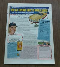 Johnson's Car Plate Auto Wax geaturing Ted Williams Paper Advertisement
