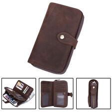 Vintage Men Cow Leather Clutch Long Wallet Zipper Cowboy Purse Phone Card Holder