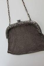 Vintage Chain Mail Purse ChainMail Art Deco Mesh Alpaka Bag metal gray coins pur