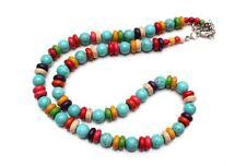 Halskette Perlenkette Kugelkette aus Howlith, Kugeln + Rondelle, NEU