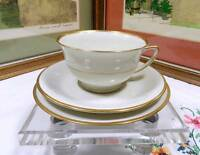 "JACKSON CHINA USA FEATHERWEIGHT WHITE & GOLD 2 1/8"" CUP & SAUCER TRIO SET"