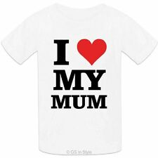 Kids 100% Cotton T-Shirt I Love My Mum Design Boys Girls I Heart My Mum T-shirt