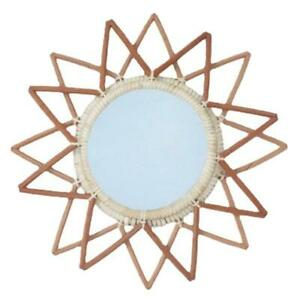 Novelty Rattan Round Mirror Wall-mounted Mirrors Art Decor Photo Props for Home