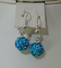 10mm Crystal Pave Sterling Silver Drop Earrings - Various Colours