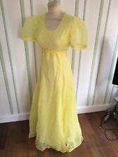 VINTAGE 70'S BRIGHT YELLOW DAISY PRINT CHIFFON BRIDESMAID MAXI DRESS UK 10 SMALL
