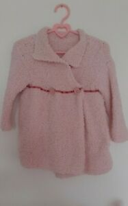 Handmade Knitted Long Cardigan Baby Girl 6-12 Months Pale Pink Teddy Soft Wool