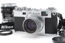 Near Mint Nikon S2 35mm Rangefinder W/ H.C 50mm F/2 + P 105mm F/2.5 Lens No 1306