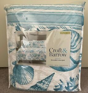 Croft & Barrow Sarah Coastal Shells Reversible King/Cal King Cotton Quilt