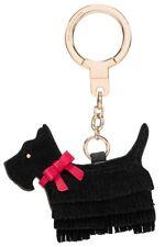 KATE SPADE NEW YORK LEATHER LU LU SCOTTIE BLACK DOG FOB KEY RING CHAIN - NWOT
