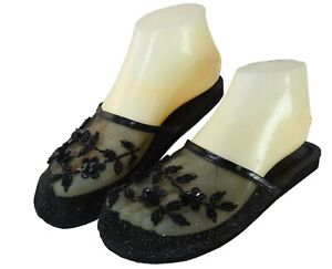 New StarBay Women's Solid Black Color Floral Beaded Mesh Chinese Slippers