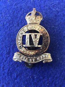 4th Queens Own Hussars Bi Metal Cap Badge Kc