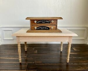 Dollhouse Miniature Sewing Cabinet Vintage wood Embroidery