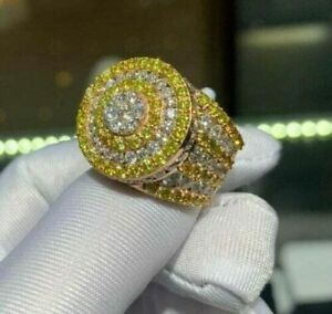 1.54 ct Round Yellow Canary & Sim Diamond Men's Unique King Ring in 925 Silver
