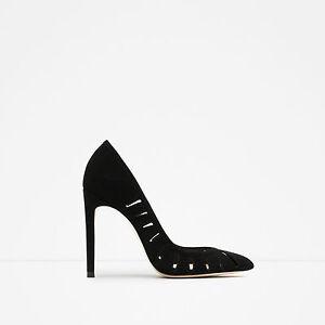 Zara Black High Heel Leather Shoes,size 38