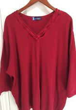 Penningtons Womens Plus Size RED ¾ Length Sleeves V-Neck Top - Size 6X-NEW