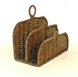 """Vintage Mail Organizer Wicker Letter Bills 2 Compartments 9"""" x 7""""X 4"""" Very NICE"""