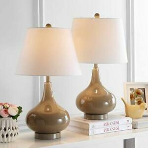 Safavieh Lighting Collection Amy Taupe Gourd Glass 24-inch Bedroom Living Roo...