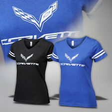 2014-2019 Corvette C7 Womens Crossed Flags Jersey T-Shirt 637652