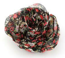 Zest Floral Print Chiffon Flower Hair Clip Black