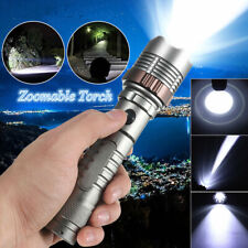 Tactical Rotate LED Flashlight Police 900000LM Zoom 5 Modes Camping Torch Light