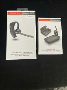 Plantronics Voyager 5200 Mobile Wireless Bluetooth Headset /Charging Case Bundle