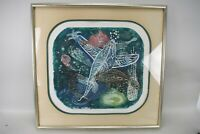 Hannah Yakin Art Sea Fish Print 1966 Framed Signed Limited Edition Etching Print