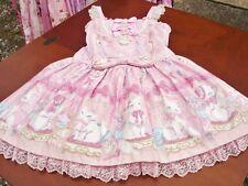 Angelic Pretty Sweet Lolita Pink Dolly Cat Low Waist JSK Dress Used