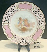 ANTIQUE BAVARIAN GERMANY RETICULATED PINK PLATE CHERUBS UNMARKED