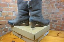 UGG® Australia 'Lynnea' Chocolate Brown Leather & Sheepskin Clog Boots. £215.00